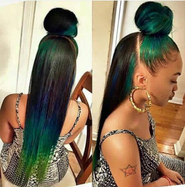 Blue green & black versatile sew in