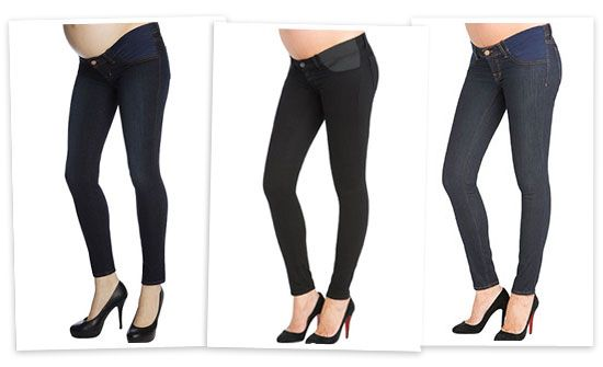 J.Brand has some of the best maternity jeans out there. They're comfortable on the belly and nice and tight everywhere else. Wear their legging jeans with a flowing top and a cropped jacket on top and you're set.