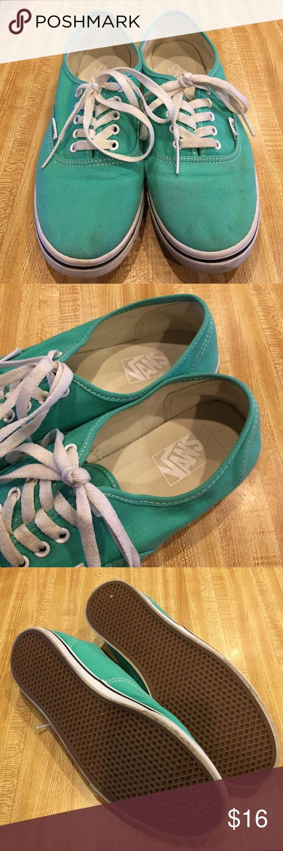 Vans Reposh! Mint green Vans. Super cute. Size 9 but they seem to run small. I am a true 9 and my toes are at the tip. Vans Shoes