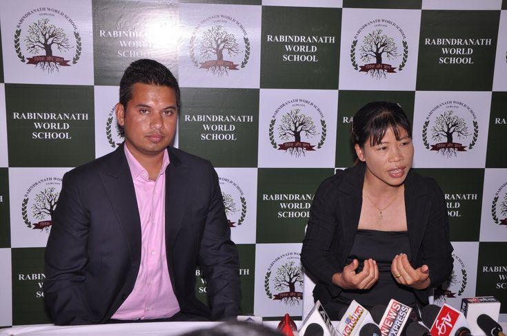 Mr. Gaurav Tomar  Director Rabindranath World School  Gurgaon with Mary Kom.