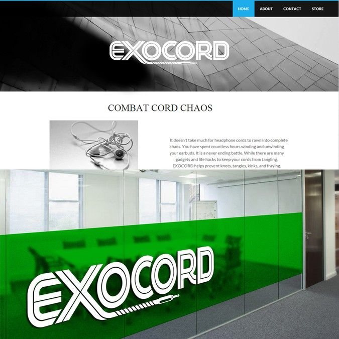 EXOCORD we combat cord chaos with the use of our simple product for your headphones by Magnum Logo Design