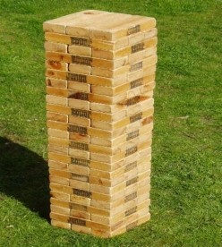 """Backyard Games - We made a Mega Jenga - WHAT A HIT!! We made 60 blocks - 2x4x10.5"""" - normal game is 54 but 60 seemed more impressive - according to DH. ;D - Requires a lot of sanding but well worth it."""