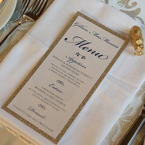 Glitter Romantic Wedding Menu by Pink Umbrella Invites