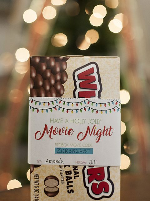 Realtor pop-by gifts using a printable and box of whoppers with a redbox movie code make a great Christmas gift