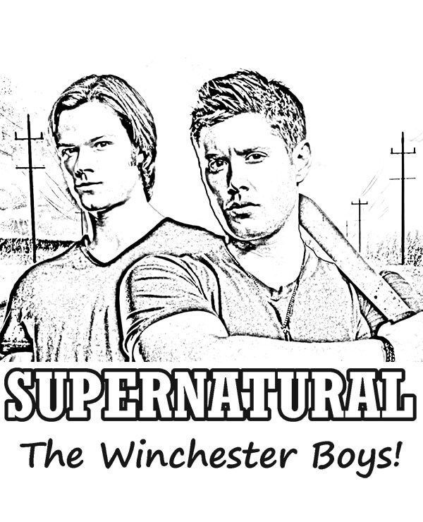 Supernatural The Winchester Boys Free Coloring Page Free Kids