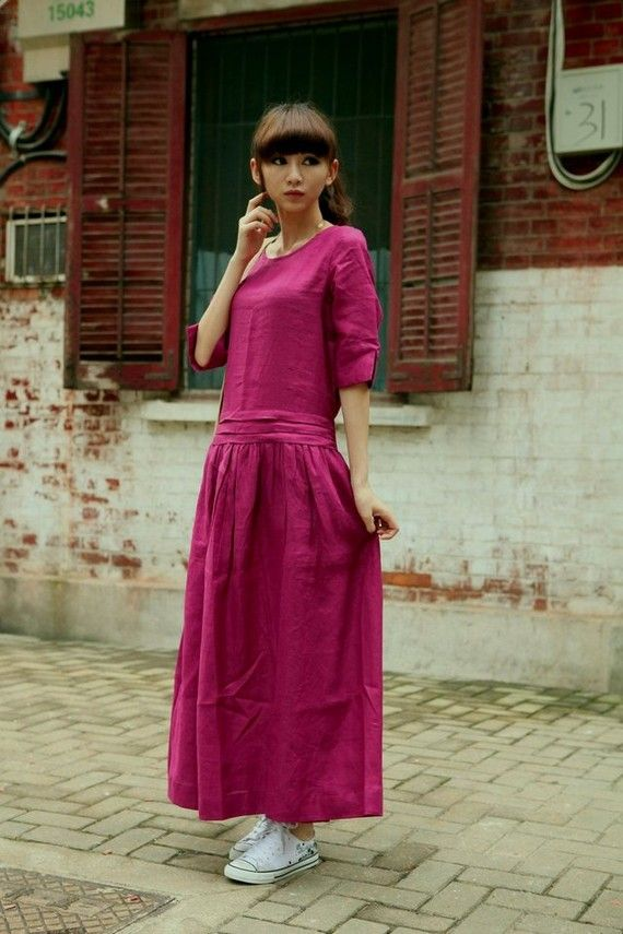 New style Pink long sleeve sundress/tunic(more colour and size choice)