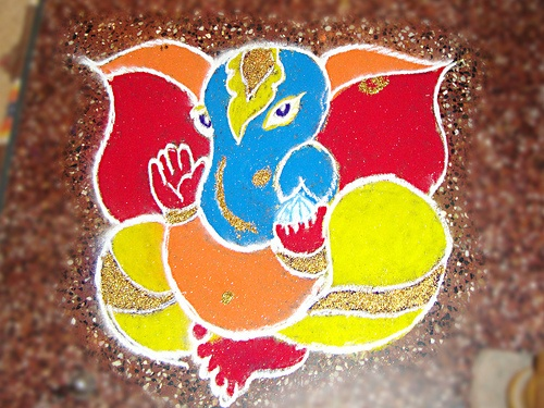 Beautiful Ganesha Rangoli Designs, Rangoli Ganesha, Ganesh Pattern Rangolis ~ Diwali Celebrations 2012
