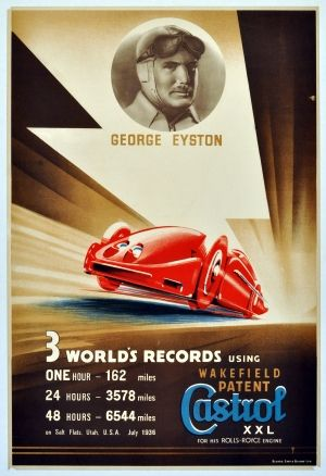 George Eyston Castrol Rolls Royce World Records, 1936 - original vintage poster listed on AntikBar.co.uk