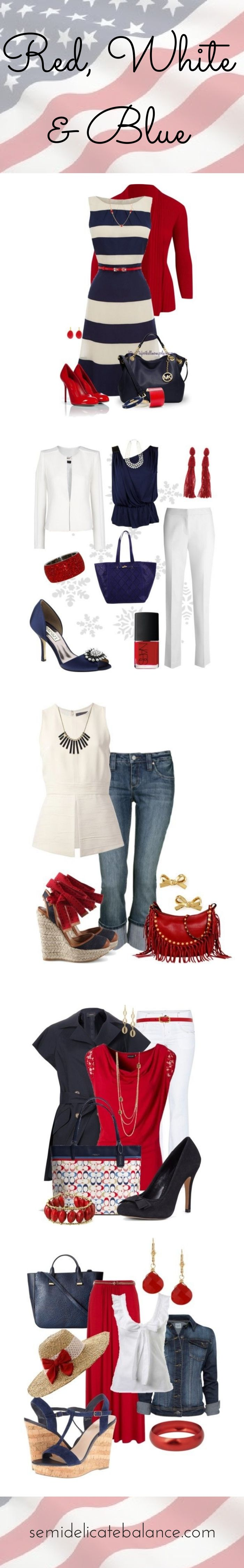 I'd wear any of these red white and blue outfits whether to show my love for nautical or my love of country and all things patriotic. The author suggests them for welcoming home a loved one from military deployment.