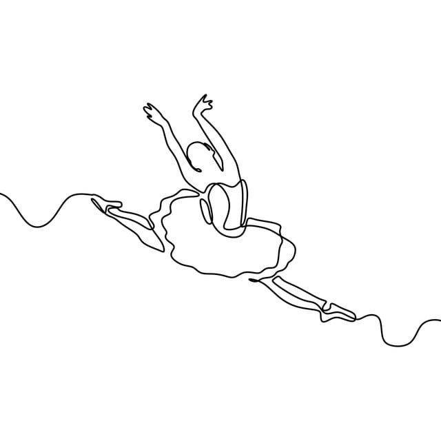 Ballerina Illustration Drawing Beautiful Ballet Dance Elegance Dancer Dress Graphic Female Woman One Vector I Continuous Line Drawing Line Drawing Girl Drawing