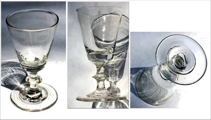 18th Century Blown Crystal Sherry Glass:  In the 18th century the demand for Sherry grew, and many British entrepreneurs based their businesses in the area around Jerez in Andalucia.  The name 'Sherry' comes from the English mispronunciation of the word 'Jerez'.