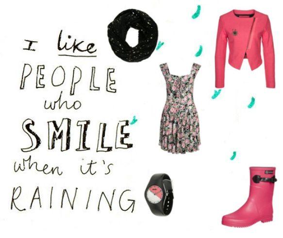 Herfst look - kleding inspiratie met roze blazer en regenboots