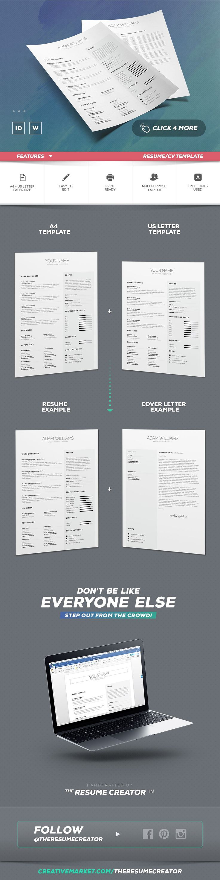 points to cover in a cover letter%0A Simple Resume Cv Template Volume   by TheResumeCreator on  creativemarket   resumecreator