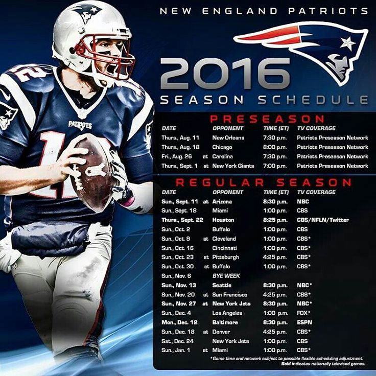 Patriots 2016 Season Schedule                                                                                                                                                      More