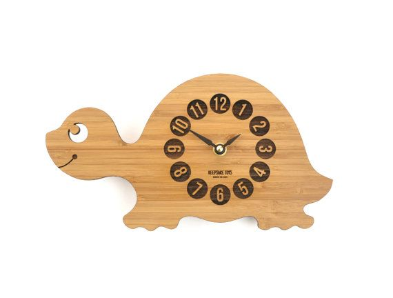Wood Turtle Clock, Baby Nursery Decor, Bamboo Clock for Kid's Room, Eco-Friendly Wood Animal Clock, Office Decor, Gift