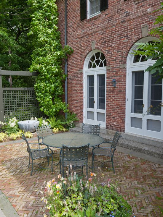 Patio, Captivating Traditional Brick Patio Designs Also Red Bricks Wall  House Also Cool Outdoor Furniture