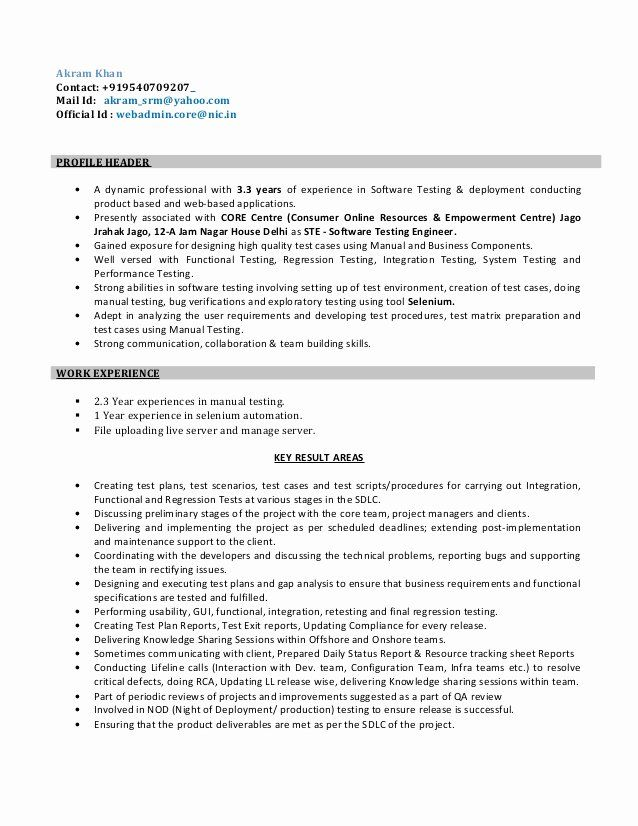 Software Testing Resume 5 Years Experience Unique Resume For Software Test Engineer In 2020 Software Testing Engineering Resume Resume