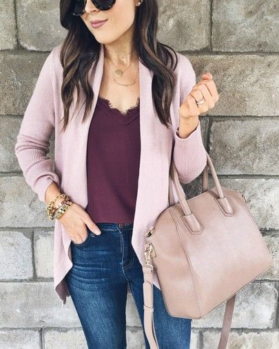 I'm loving this mauve + burgundy color combo! This cardigan is one of my favor…