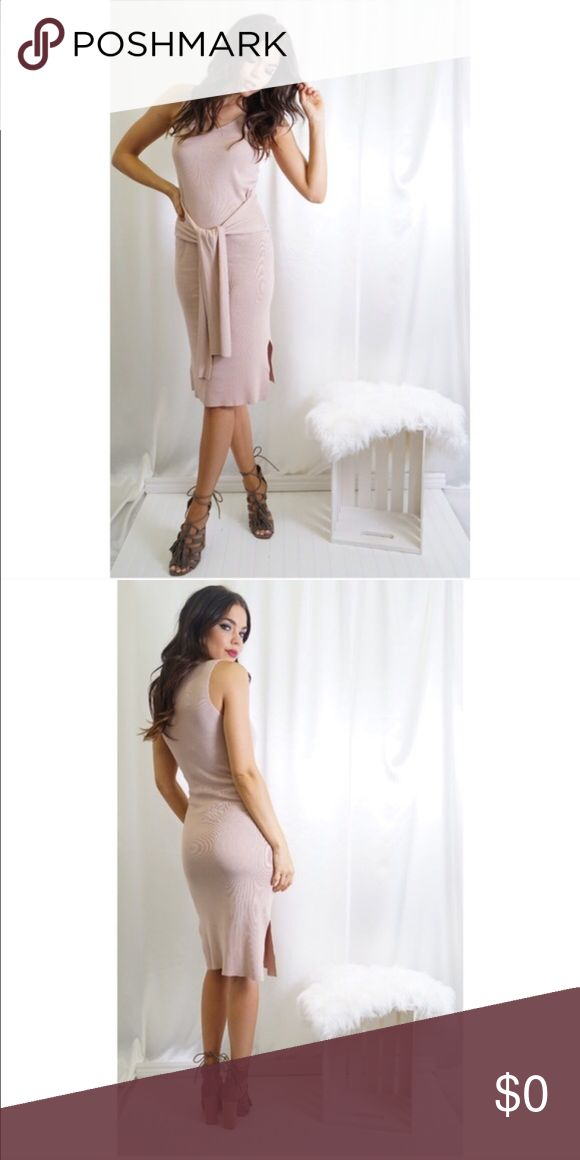 Slinky & sexy Carmen knit front or back tie dress I'm a @teancup fan & this beautiful dress is literally so pretty its hard to describe all that makes it so special.The blush color is a yr round neutral. 60% cotton 40% Acrylic it has so much stretch and moves beautifully with your body. I will add pics wearing dress shortly. Its perfect for date night, add edge w a leather jacket, a denim jacket or wear it alone to showcase arms & legs. Short side slits are lovely touch. No trades. Gift 🎁 w…
