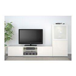 IKEA - BESTÅ, Alm TV, riel para cajón con cierre suave, blanco/Selsviken alto brillo/vidrioesmerilbl, , Las puertas y cajones llevan un sistema integrado para abrir/cerrar suave y silenciosamente.El panel superior de vidrio templado protege el mueble y le da un aspecto brillante.Es fácil tener  los cables del TV y otros dispositivos ocultos pero a mano, gracias a las aberturas de la parte de atrás del mueble de TV.La abertura de la parte superior permite pasar los cables incluso si el…