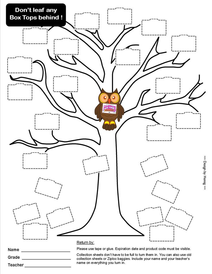 """Box Tops Collection Sheet -- """"Don't Leaf Any Box Tops Behind"""" -- Great for fall, leaves owl October November 25ct #boxtops #btfe"""