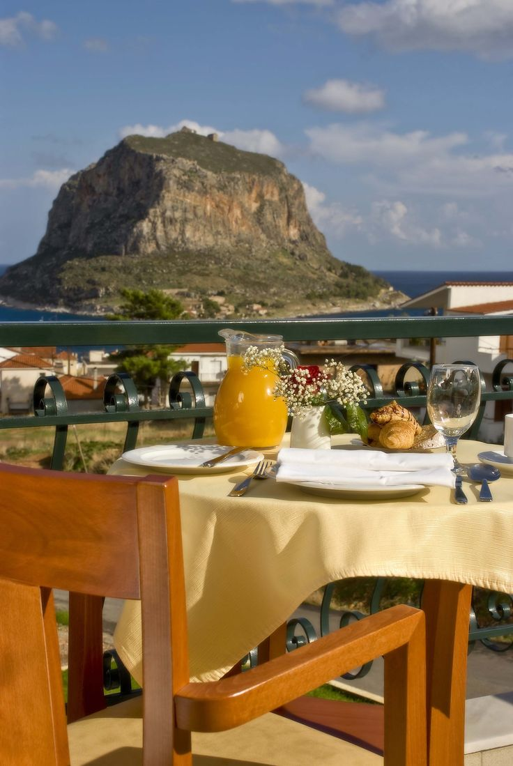 Start your day with a healthy breakfast and the amazing view of Monemvasia