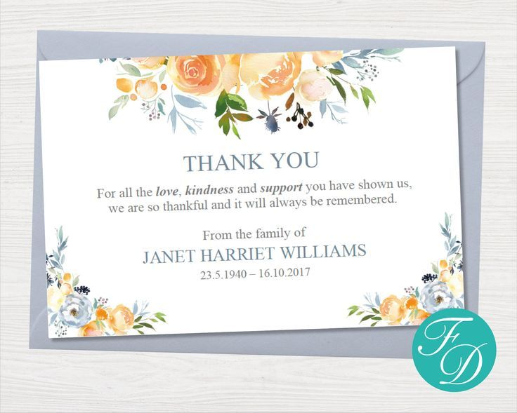 Yellow Rose Funeral Thank You Notes Funeral Template Etsy Funeral Thank You Notes Funeral Thank You Thank You Card Template