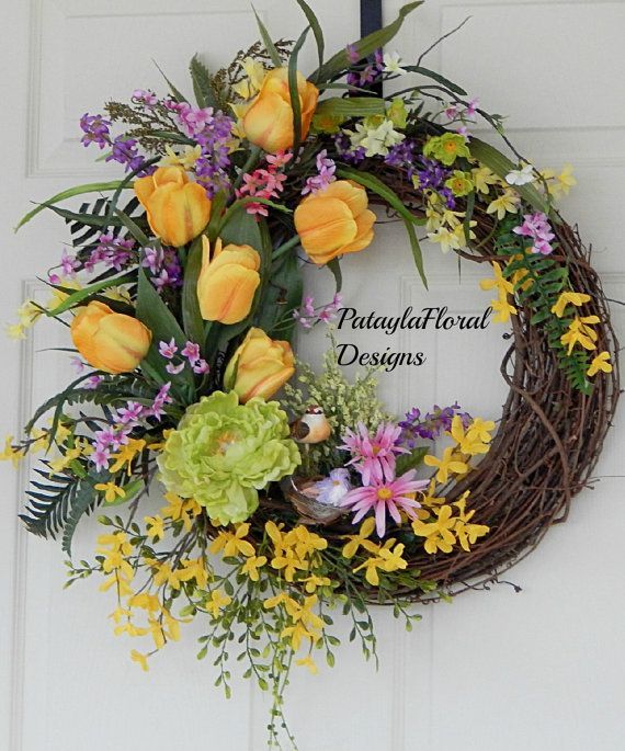 XL Forsythia Wreath Yellow Tulips Spring by PataylaFloralDesigns