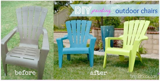 How to Paint Plastic Outdoor Chairs {summer spruce-up} #paintedplasticchairs