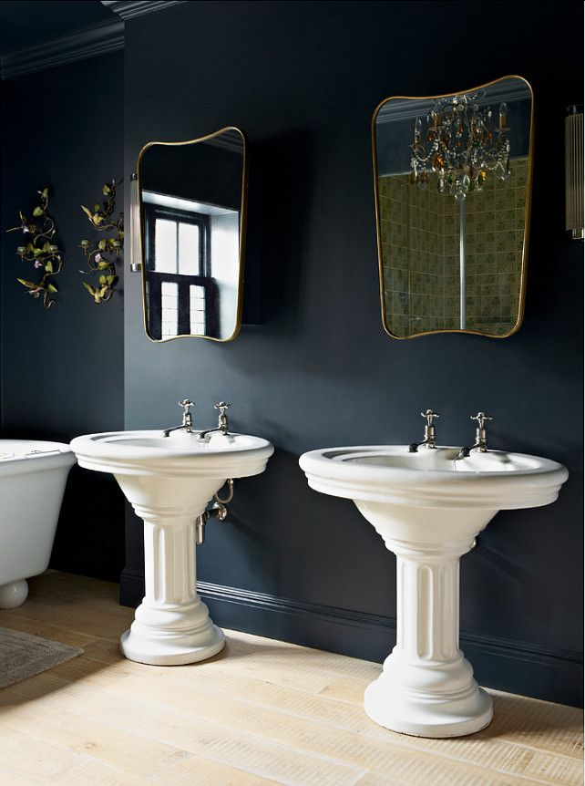Farrow & Ball Hague Blue No 30 | love the 50s brass mirrors and the toleware sconces