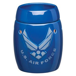 Air Force Full-Size Scentsy Warmer -High-gloss royal blue background with embossed silver design