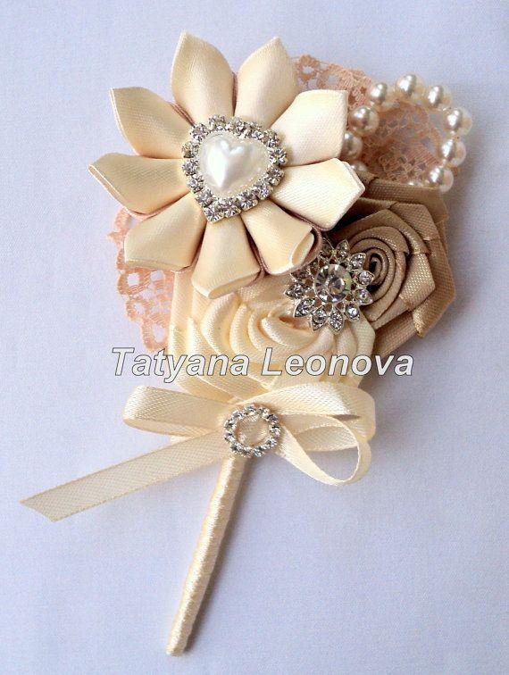 Wedding Accessories: boutonniere Brooch bouquet beige by LIKKO