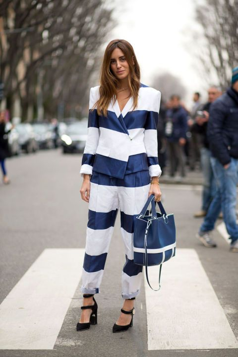 Stripes In Street Style. Suited up at Milan Fashion Week Fall 2015 #MFW