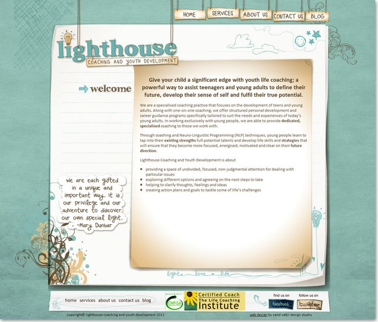 Educational website design for Lighthouse, Coaching and Youth Development