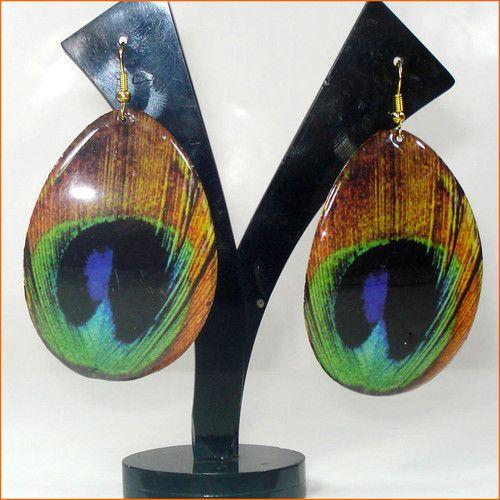 Peacock Feather Design Green & Golden Brass Metal Earrings