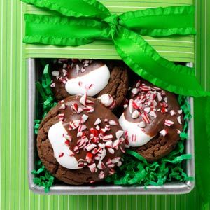 Taste of Home - Hot Chocolate Peppermint Cookies -- voted by my boys & me best Christmas cookies ever & the fact that they can be frozen ahead of time before decorating made them fast!