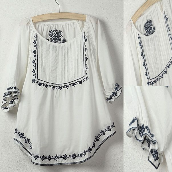 Vintage 70s Mexican Ethnic Floral Embroidery Casual t shirt women clothing BOHO Hippie t shirt,100% Cotton tops,blusas femininas-in T-Shirts from Apparel & Accessories on Aliexpress.com | Alibaba Group