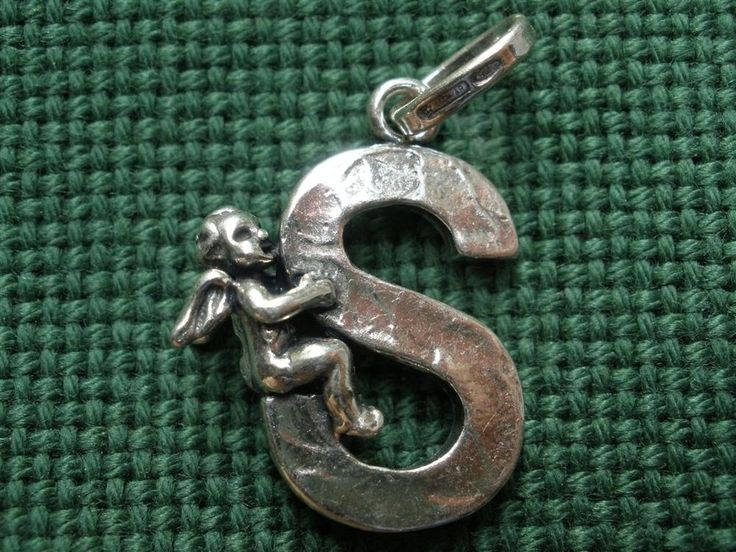 Giovanni Raspini Italy 925 Silver Alphabet Angel 'S' Charm Pendant #GiovanniRaspini #Pendant