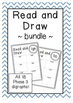 Phase 3 Read and Draw bundle. All 18 Phase 3 digraphs and trigraphs from the UK Letters and Sounds program.