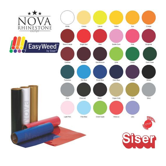 EASYWEED SISER HEAT TRANSFER VINYL 15X9, CHOOSE FROM 35 COLORS YOUR CHOICE    Professional Cut - Always Straight Cut, which is impossible to