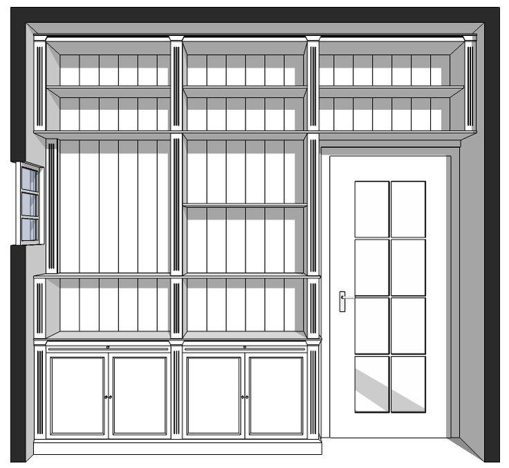 Maatwerk boekenkast wand vullend rondom deur - Inndoors Meubelen en Interieur