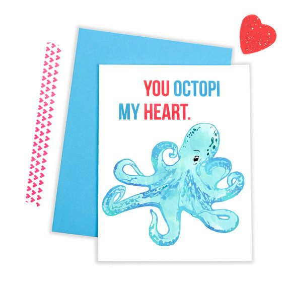 You OCTOPI My Heart - Funny I Love You Card - Anniversary Card - Funny Love Card - Octopus Card  - Anniversary Card - Octopus Love Card