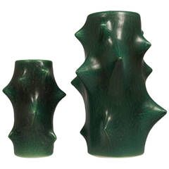 Midcentury Pair of Knud Basse Spiky Stoneware Vases for Michael Andersen   From a unique collection of antique and modern ceramics at https://www.1stdibs.com/furniture/dining-entertaining/ceramics/