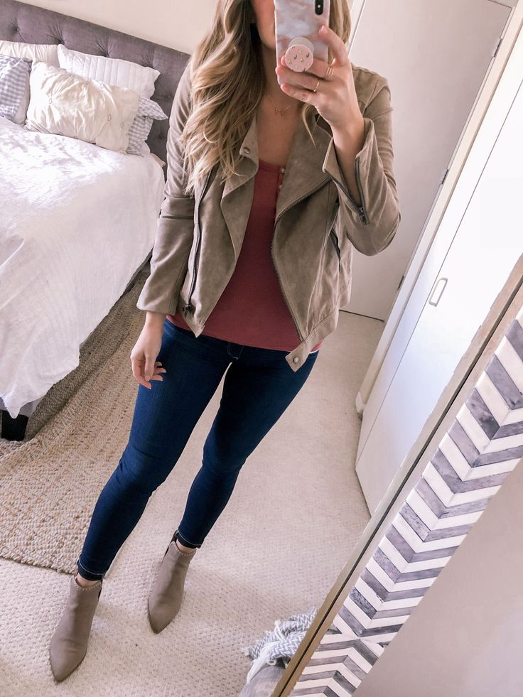 A suede moto jacket and henley tank top. Add some studded booties and your outfit is complete! #style #style #shopping …