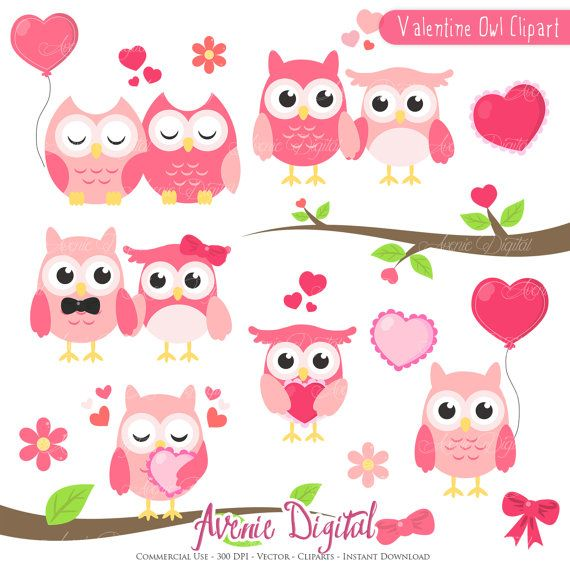 Valentines Owl Clipart Scrapbook Printables Holiday Clip