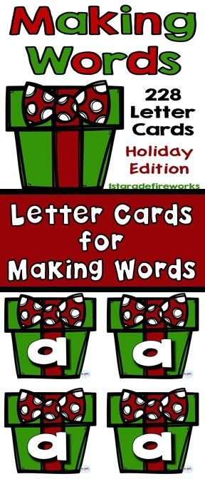 Holiday Themed Letter Cards for Making Words.Alphabet cards 4 to a page for Making Words. Pocket Chart sized for isolating and blending sounds. Great for centers, small group, whole class. Morning meeting ...begin your day with Making Words. Guided readin