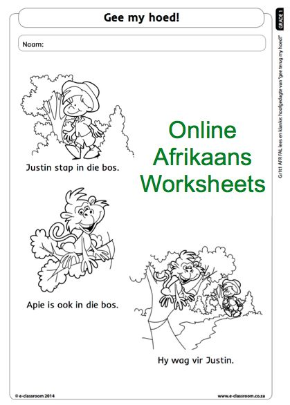 Grade One Online Afrikaans Worksheet reading. For more visit www.e-classroom.co.za!