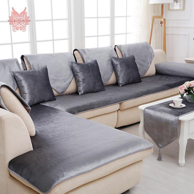 Free shipping grey camel red black velvet sofa cover flannel plush slipcovers cheap sectional couch covers : buy sectional couch - Sectionals, Sofas & Couches