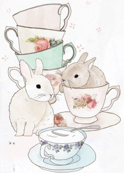 White rabbit at the mad hatters teaparty ...happy easter alice lovers ...straight from wonderland vintage tea party