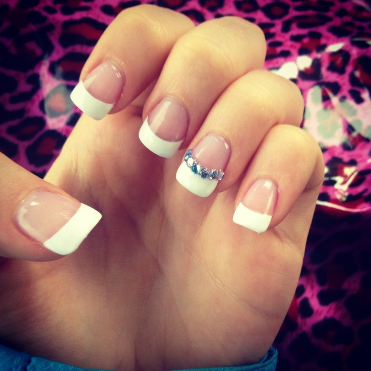 Blue Prom Nails: French Manicure With Blue Rhinestones! #nails #love